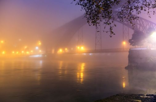 Фото Portugal / Португалия, огни ночного Порту, мост, море, туман, деревья, фотограф Марина Лысцева