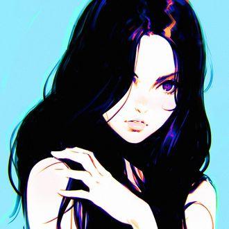 Фото Портрет девушки на голубом фоне, by Kuvshinov Ilya