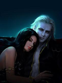 Фото Темноволосая девушка обнимает белокурого парня-вампира, by gothic-icecream