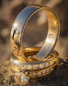 Фото Отражение жениха и невесты в обручальном кольце, золото, платина, фотограф Питер Адамс-Шон / Peter Adams-Shawn, серия«Ringscapes»