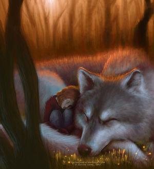 Фото Девочка спит, прижавшись к огромному белому волку, by SaiFongJunFan