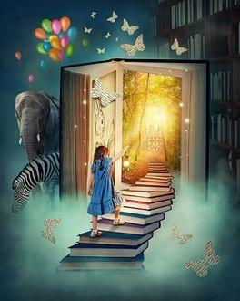 Фото Девочка поднимается по лестнице из книг, направляясь к открытой книге - двери, рядом стоит слон, зебра, летают бабочки