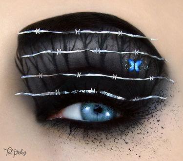 Фото Оригинальный макияж глаза с колючей проолокой и бабочкой на веке, by scarlet-moon1