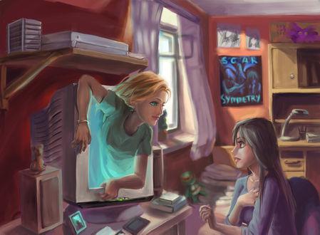 Фото Белокурая девушка пролазает через монитор в комнату к темноволосой девушке, by Kardie