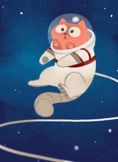 Фото Рыжий кот в скафандре в открытом космосе