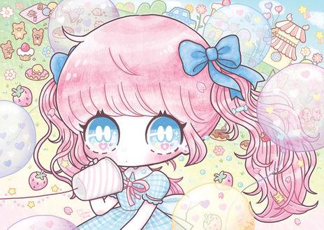 Фото Девочка со стаканом на волшебной поляне, где летают мыльные пузыри и звездочки, живут пряничные медведи, вокруг лежат пирожные, пончики, кексы и клубника