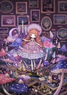 Фото Девушка с подсвечником стоит в комнате полной картин, которые оживают по ночам, из них вырастают грибы, дома и персонажи