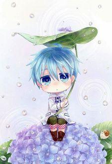 Фото Парень сидит на цветах, укрываясь от дождя под листиком