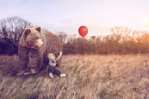 Фото Медведь охраняет малыша, который тянется за воздушным шариком, by toby lidstone