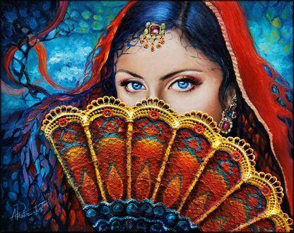 Фото Девушка с красной накидкой на голове закрывает лицо веером, польская художница Alicja Pawlowska