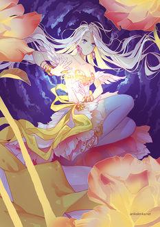 Фото Девушка с длинными волосами сидит на цветке, by Anikakinka