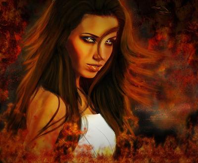 Фото Девушка с длинными волосами стоит и смотрит в упор, by Kurtzan