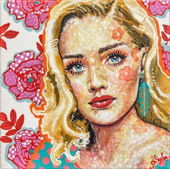 Фото Девушка - блондинка с голубыми глазами на фоне розовых цветов, художница Amylee