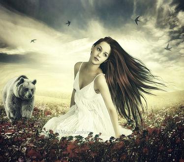 Фото Девушка с длинными волосами в белом платье сидит на лугу с цветами, рядом медведь, в небе летают птицы by MOON ZAPHIRE ART