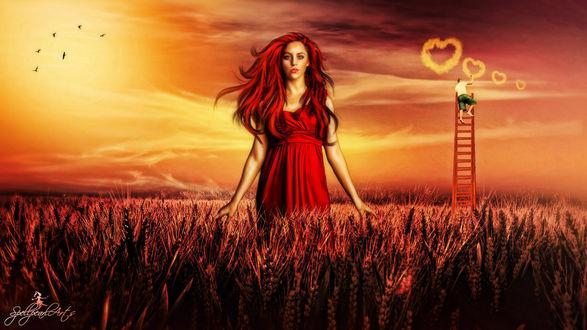 Фото Девушка с красными длинными волосами в красном платье стоит в поле ржы. На лестнице стоит мужчина который рисует в небе сердечки, летают птицы, by SPELLPEARL ART