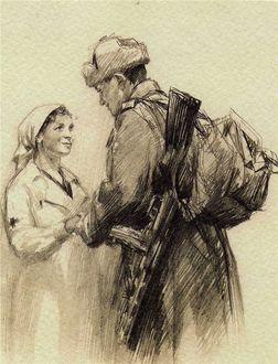 Фото Девушка и военный мужчина