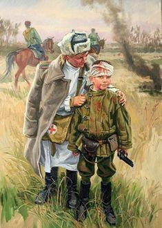 Фото Работа Сын полка, после боя, медсестра стоит рядом с мальчиком, художник Позняк Сергей
