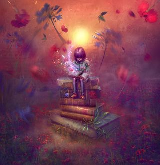 Фото Девочка сидит на книжках в сказочном саду
