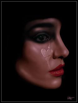 Фото Лицо девушки в профиль, красные губы, из глаза течет слеза в виде сердечка, бразильский художник RockLane