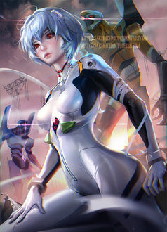 Фото Рей Аянами / Rei Ayanami из аниме Евангелион нового поколения / Neon Genesis Evangelion, by sakimichan