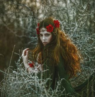Фото Модель Anna Maria с длинными волосами с украшениями из цветов на голове, by Agnieszka Lorek