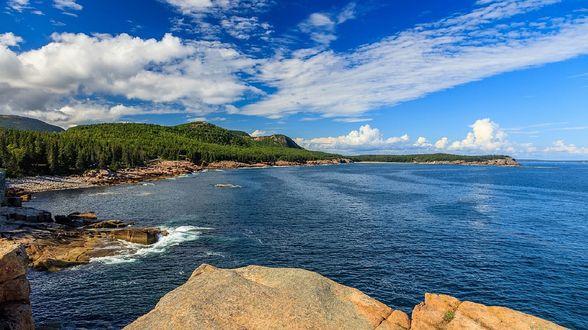 Фото Берег моря, покрытый лесом на фоне голубого неба, by skeeze