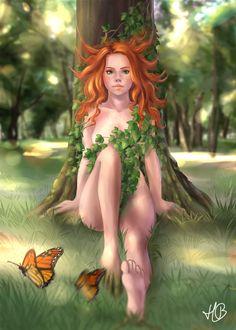 Фото Рыжеволосая девушка сидит на траве на фоне природы и летающих бабочек, by Selven7