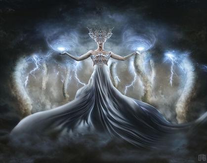 Фото Девушка с молниями