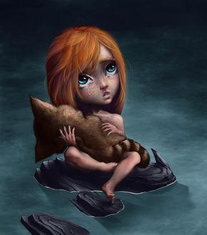 Фото Плачущая девочка с котиком