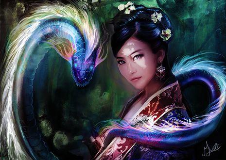 Фото Девушка и дракон, by musane