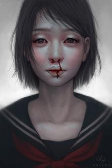 Фото Темноволосая девушка азиатской внешностью с кровью из носа, by Huyen-n00b