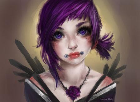 Фото Девушка с фиолетовыми цветом волос и глазами, by Junica-Hots