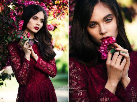 Фото Девушка в бордовом платье стоит с цветами, фотограф Владимир Гуляев