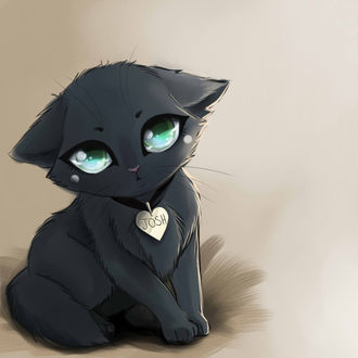 Кот грустный нарисованный