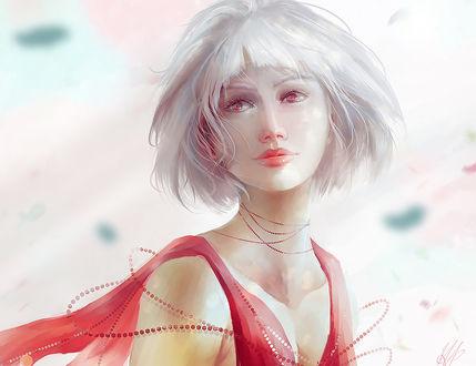 Фото Белокурая девушка с красными глазами, by mohn-blume