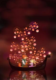 Фото Джуди Хопс / Judy Hopps и Ник Уайлд / Nick Wilde из мультфильма Зверополис / Zootropolis в стиле Рапунцель: Запутанная история / Tangled