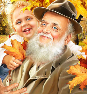 Фото Мужчину с седой бородой в шляпе и плаще, обнимает девочка с желтым листком клена в руке, работа художника-иллюстратора Инны Кузубовой