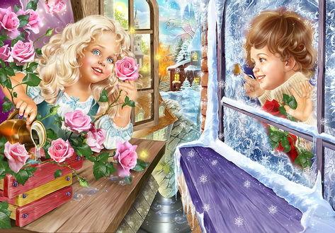 Фото Иллюстрация сказки Снежная королева, Герда поливает розы, а Кай смотрит на нее в заснеженное окно, работа художника-иллюстратора Инны Кузубовой