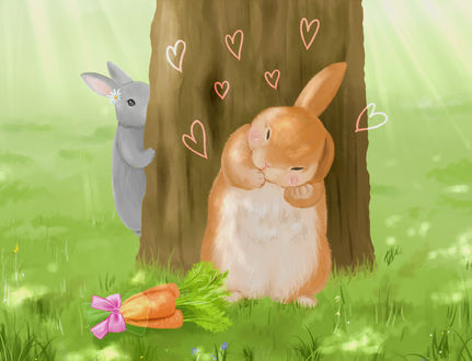 Фото Два влюбленных кролика