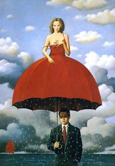 Фото Мужчина укрывается от дождя девушкой, благодаря ее пышному красному платью