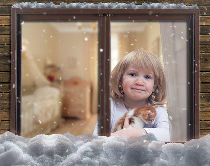 Фото Девочка с котенком на руках смотрит на падающий за окном снег, фотограф Ирина Козорог