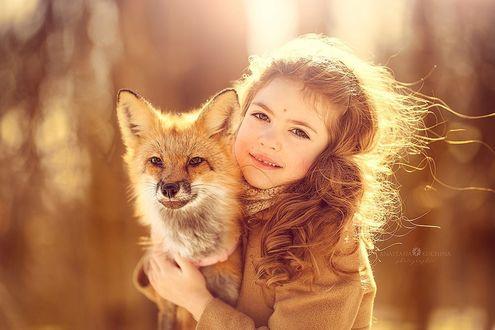Фото Девочка держит на руках лису, фотограф Анастасия Кучина