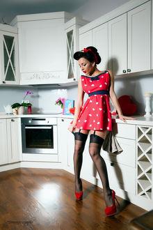 Фото Девушка в стиле пинап на кухне