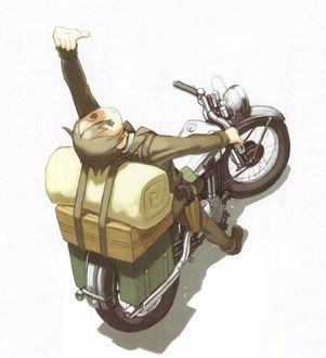 Фото Кино / Kino сидит на мотоцикле и смотрит вверх из аниме Путешествие Кино / Kino no Tabi, art by Kouhaku Kuroboshi