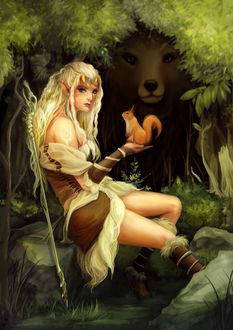 Фото У эльфийки на руке сидит белка, рядом среди деревьев стоит медведь, by Yuupewpew