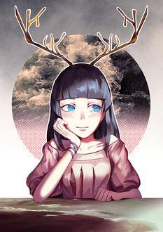 Фото Девушка с оленьими рожками, by kahmurio