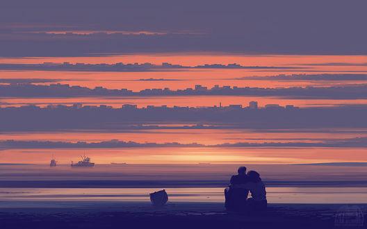 Фото Влюбленная пара сидит у моря, by alexandreev on DeviantArt