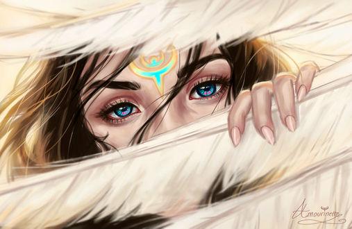 Фото Девушка с голубыми глазами и знаком на лбу, by Amourinette