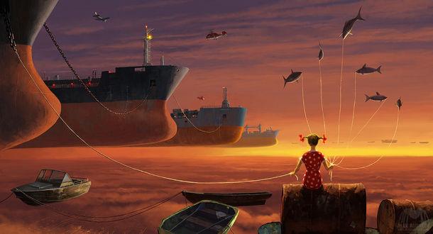 Фото Девочка держит на веревочках корабли и рыб, парящих в воздухе, by alexandreev