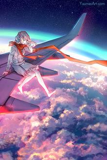 Фото Девушка с красным шарфом на шее сидит на крыле самолета, by yuumei
